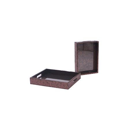 MAR10collection - Wood - Tray Odessa Metallic Copper - Brown